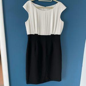 Black and White Pleated Calvin Klein Dress
